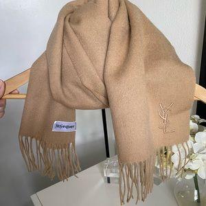 YSL Wool/Cashmere Beige Scarf